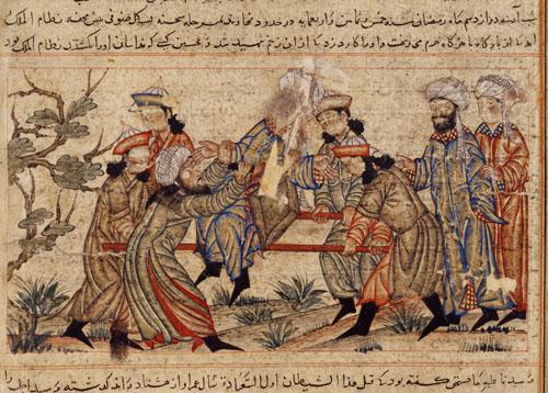 Slika iz 14. stoljeća prikazuje atentat na vizira Nizam al-Mulka koji su izvršili Hašašini. (Izvor: commons.wikimedia.org)