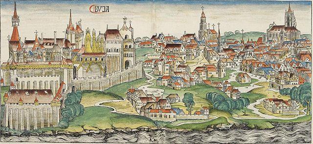 Prikaz grada Bude u današnjoj Mađarskoj, gdje su početkom 15. stoljeća firentinski trgovci uspostavili svoje trgovačke kompanije; Nurnberški ljetopis, 1493. godina (Izvor: Medievalists.net)