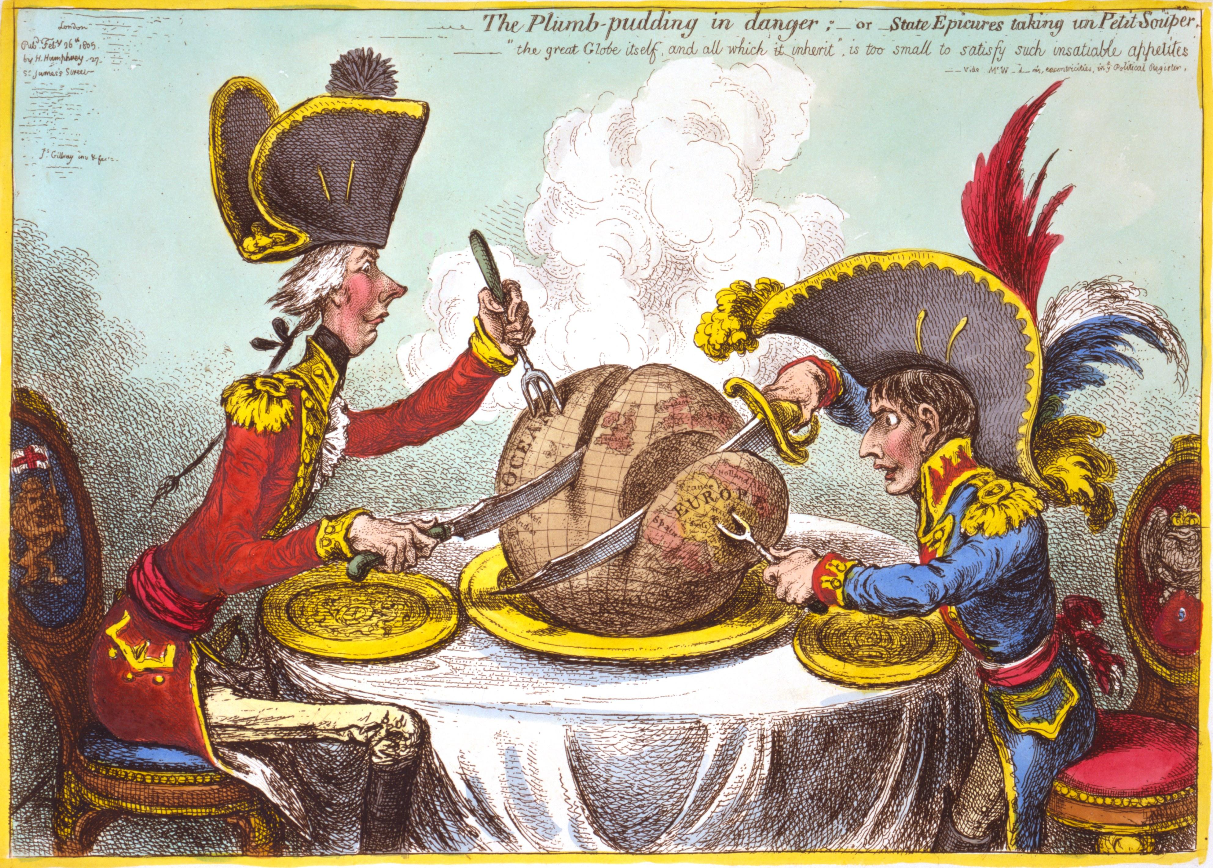Pitt i Napoleon režu svijet po sferama utjecaja, autor: James Gilray, 1805. godine (Izvor: Wikipedia.org)