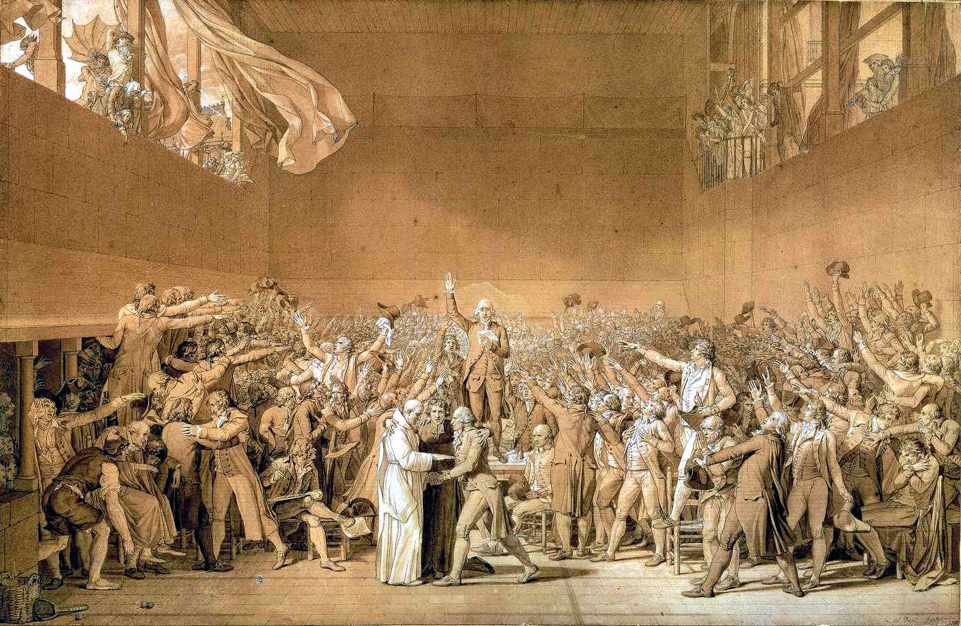 """Članovi Narodne skupštine polažu tzv. """"Tenisku zakletvu"""" 20. lipnja 1789. godine, obećavajući novi ustav koji će u Francuskoj ograničiti apsolutističku vlast (Izvor: Wikipedia.org)"""
