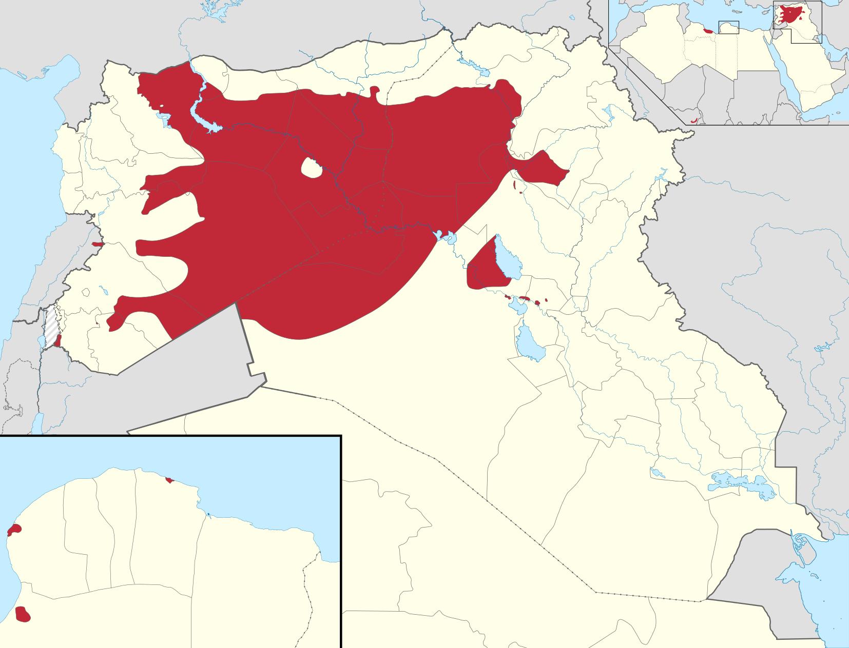 Karta teritorija (crvenom bojom) kojeg od 21. kolovoza 2015. kontrolira 'Islamska država'. (Izvor: Wikipedia)
