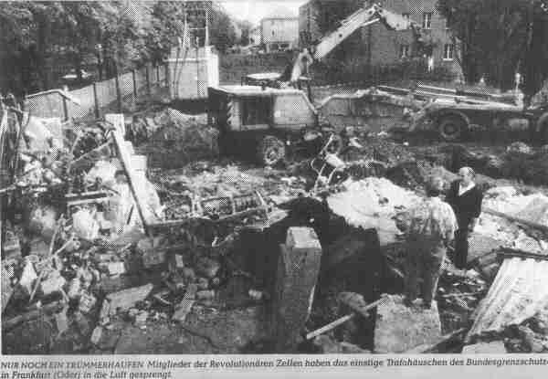 Pripadnici Revolucionarnih ćelija su 4. listopada 1993. godine dignuli u zrak zgradu Federalne granične policije u gradu Frankfurt (Oder) u bivšoj Istočnoj Njemačkoj. (Izvor: nadir.org)
