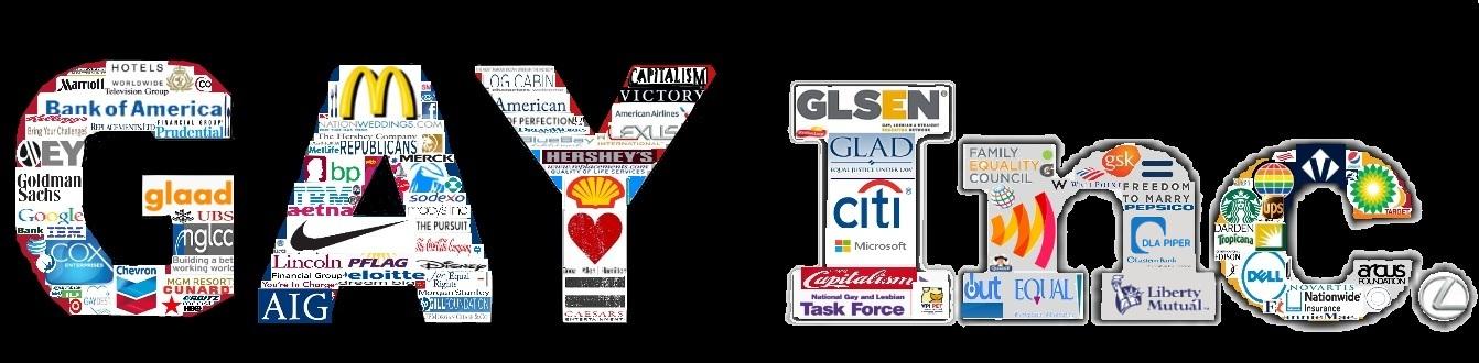 Kolaž logotipova neprofitnih gej organizacija i njihovih korporativnih sponzora, aranžiran u termin Gay Inc. - kojim se želi ukazati na povezanost jednog dijela gej aktivizma s korporativnim svijetom (Izvor: Interesting Blogger)