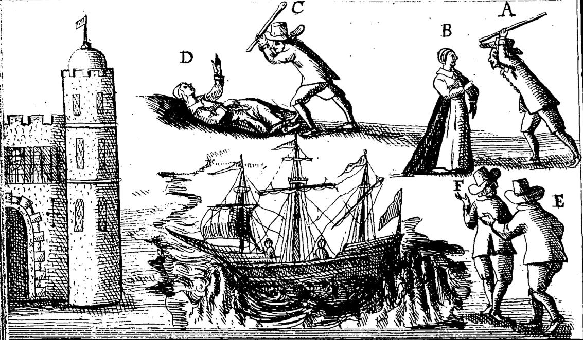 Spor u vezi korištenja jeftine lokalne radne snage (za popravak broda nasukanog u Tynemouthu) nasuprot propisanih izvođača koji drže monopol. Ilustracija iz knjige Ralpha Gardinera England's Grievance Discovered in relation to the Coal Trade iz 1655. godine (Izvor: The 1640s Picturebook)