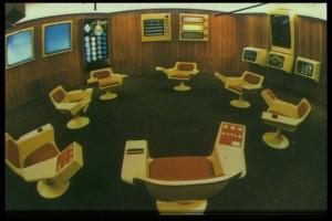 Operacijska soba čileanskog ekonomskog projekta Cybersyn (1971.-1973.), gdje su pristizale ekonomske informacije u svrhu brzog donošenja odluka u sklopu upravljanja nacionalnom ekonomijom. (Izvor)