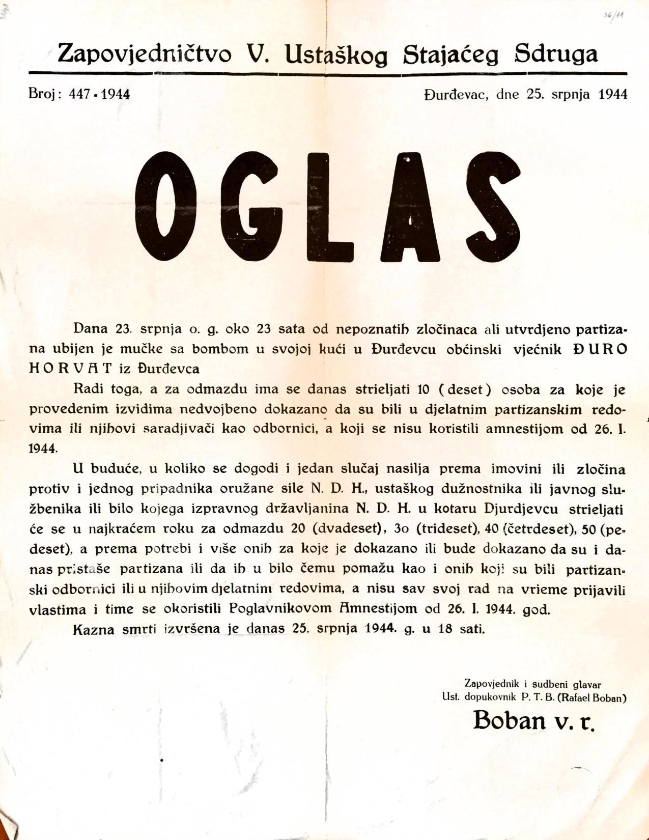 Oglas kojim se u Đurđevcu najavljuje strijeljanje desetero ljudi iz odmazde (Izvor: HR-HDA-907-Zbirka stampata,36/11.)