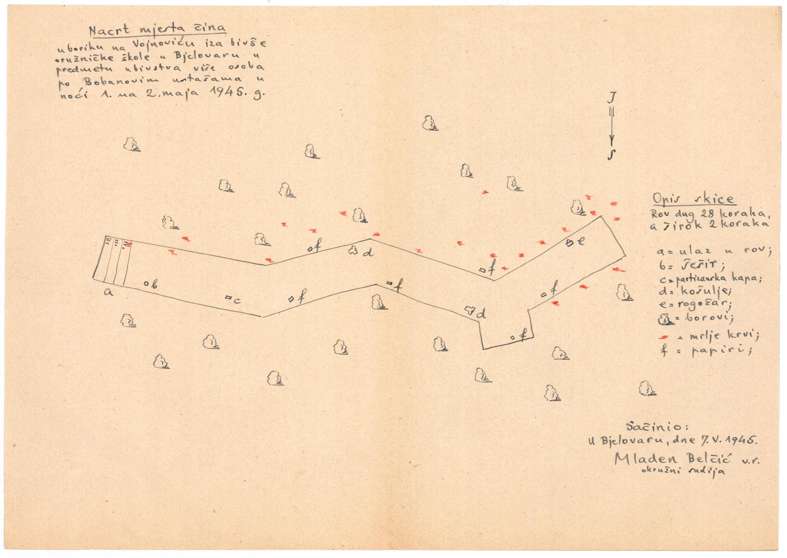 Skica mjesta zločina na Vojnoviću u Bjelovaru u noći 1. na 2. svibnja 1945. (Izvor: HR-HDA-306-Zemaljska komisija za utvrđivanje zločina okupatora i njihovih pomagača Hrvatska, kutija 196, 6190.)