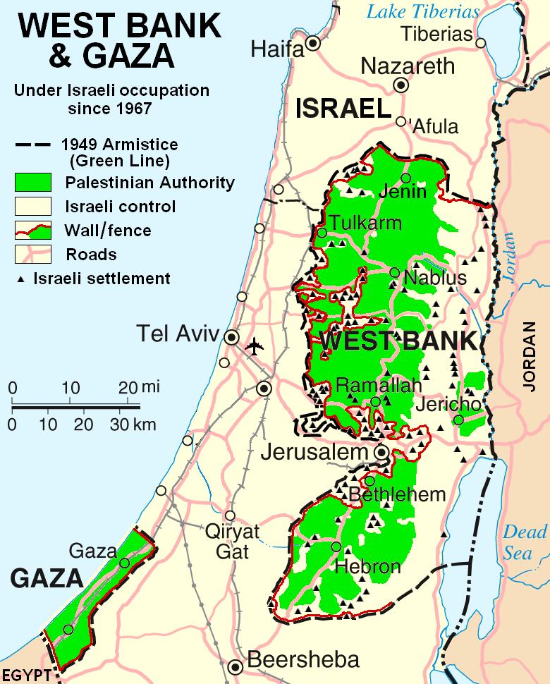 Karta koja prikazuje tijek izraelske kolonizacije Zapadne obale (izvor: commons.wikimedia.org).