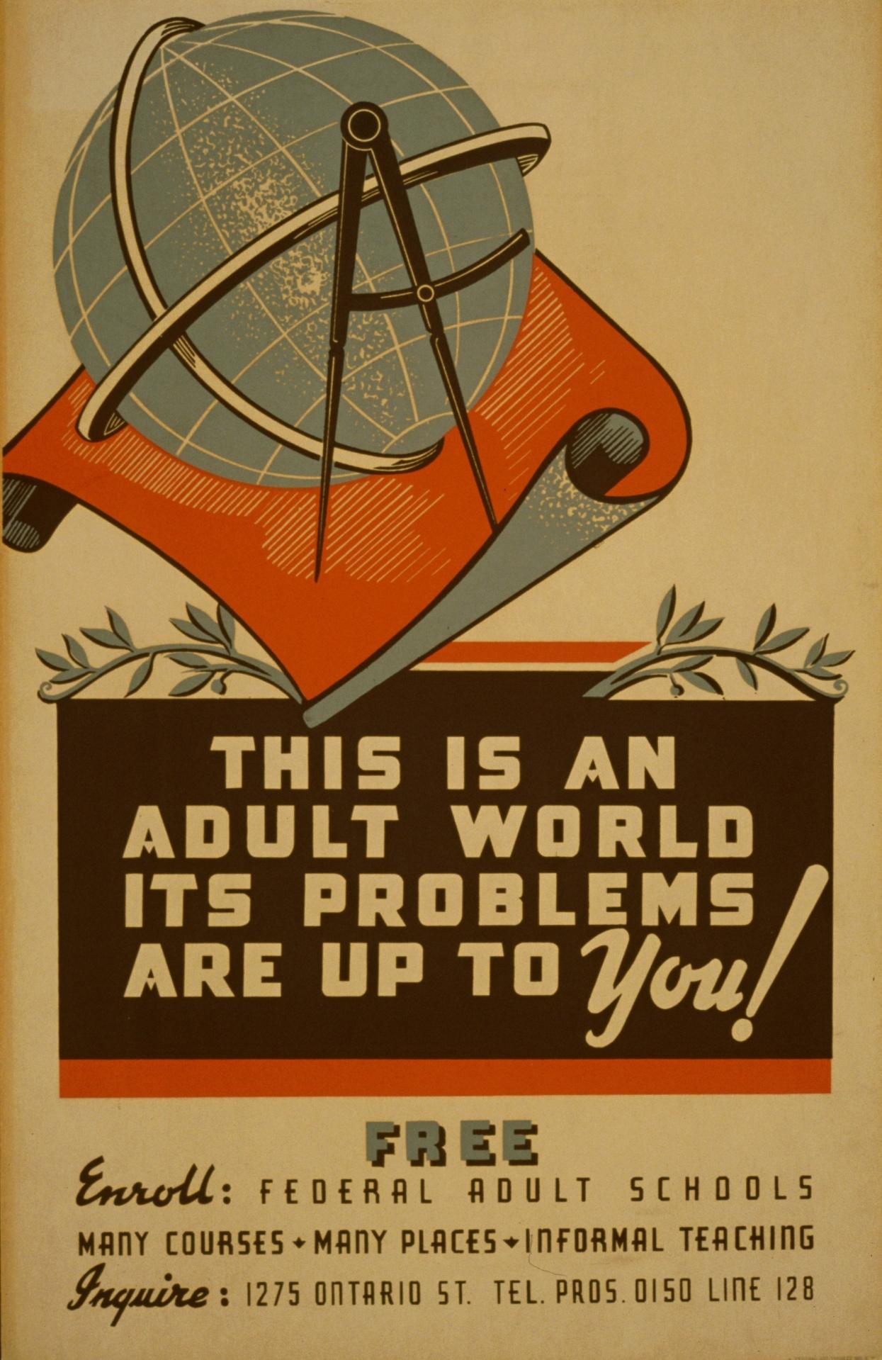 Propagandni poster iz sredine 20. stoljeća koji poziva na upis u škole za odrasle (izvor: Public Domain Pictures).