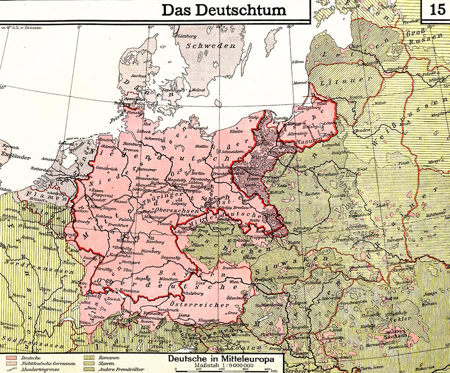Prikaz teoritorija obuhvaćenog konceptom 'nijemstva', školski atlas iz cca. 1930. godine (izvor: commons.wikimedia.org)