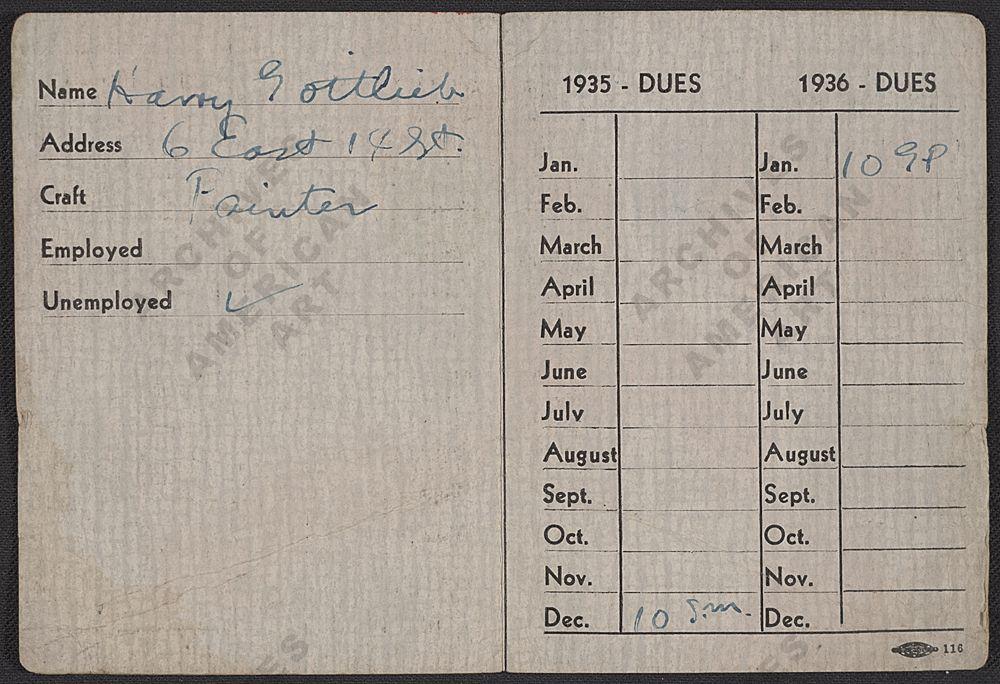 "Unutrašnja strana članske iskaznice američkog sindikata umjetnika iz 1935. godine (izvor: <a href=""http://www.aaa.si.edu/collections/viewer/harry-gottliebs-artists-union-membership-card-11632"" target=""_blank"">Smithsonianov arhiv američke umjetnosti</a> prema <a href=""http://www.si.edu/termsofuse/"" target=""_blank"">Fair Use</a> licenci)."