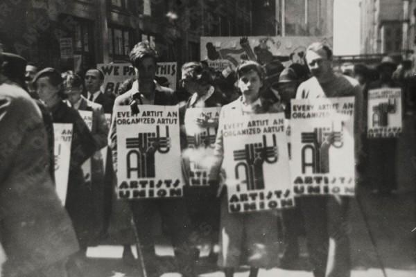 Prosvjed američkog sindikata umjetnika, oko 1935. godine (izvor: Smithsonianov arhiv američke umjetnosti prema Fair Use licenci).