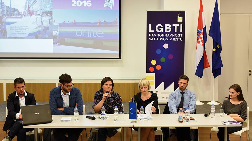 """Okrugli stol na temu """"EU politike LGBTI ravnopravnosti pri zapošljavanju i na radnom mjestu"""" (izvor)."""