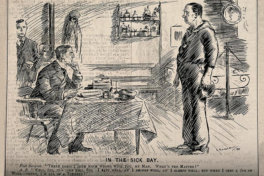 Pomorac govori brodskom doktoru kako naporan rad loše utječe na njega, L. Raven-Hill, drvorez iz 1898. godine (izvor: wikimedia).