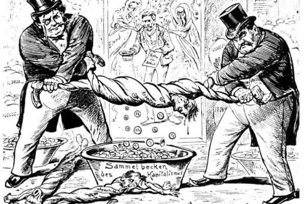 Novi odnos između radnika i poslodavaca, karikatura u švicarskim novinama iz 1896. godine (izvor).