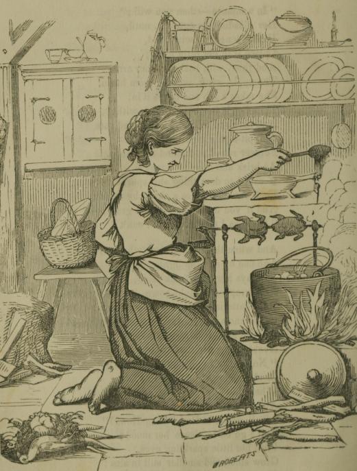 Ilustracija kućanskog rada iz 1855. godine (izvor).