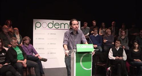 Pablo Iglesias, čelnik Podemosa, 16. siječnja 2014. (izvor: esquerra anticapitalista prema Creative Commons licenci).