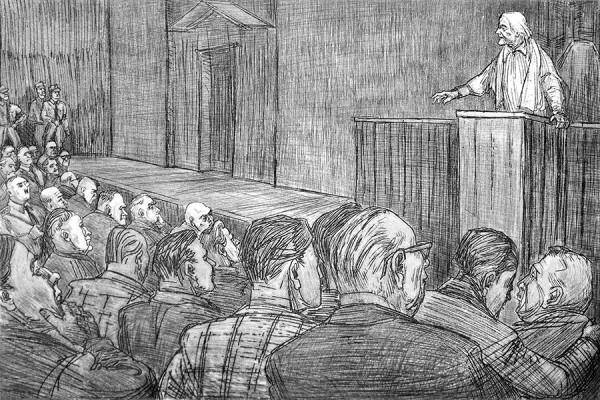 Clara Zetkin, crtež Roberta Diedrichsa (izvor: Krückstock, preuzeto i podrezano prema Creative Commons licenci).