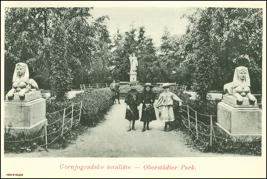 Osijek - Essegg 1905., naklada R. Bačić. Gornjegradsko šetalište - Oberstädter Park. (izvor: Vladimir Tkalčić @ Flickr prema Creative Commons licenci).