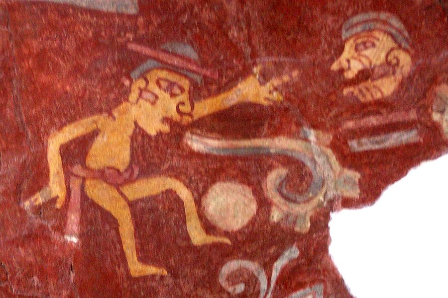 Detalj murala iz kompleksa Tepantitla u Teotihuacanu, Meksiko. Crtež prikazuje igrača s loptom kojemu iz usta izlazi svitak koji simbolizira govor, cca. 2. stoljeće (izvor: commons.wikimedia.org, preuzeto i podrezano prema Creative Commons licenci)