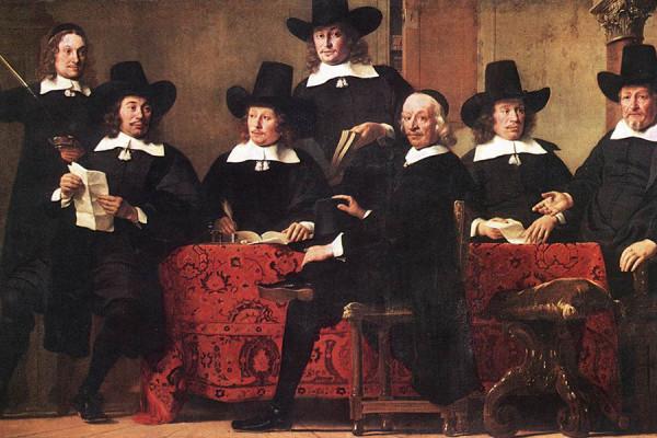 "Ferdinand Bol, ""Upravni odbor gilde vinskih trgovaca"", 1663. (izvor: wikipedia.org)."
