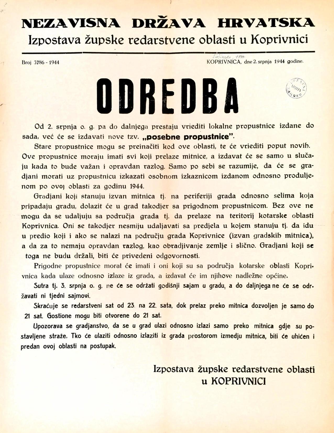 Odredba o posebnim propusnicama u Koprivnici od 2. srpnja 1944. godine (Izvor: HR-HDA-907-Zbirka stampata, 59/96)
