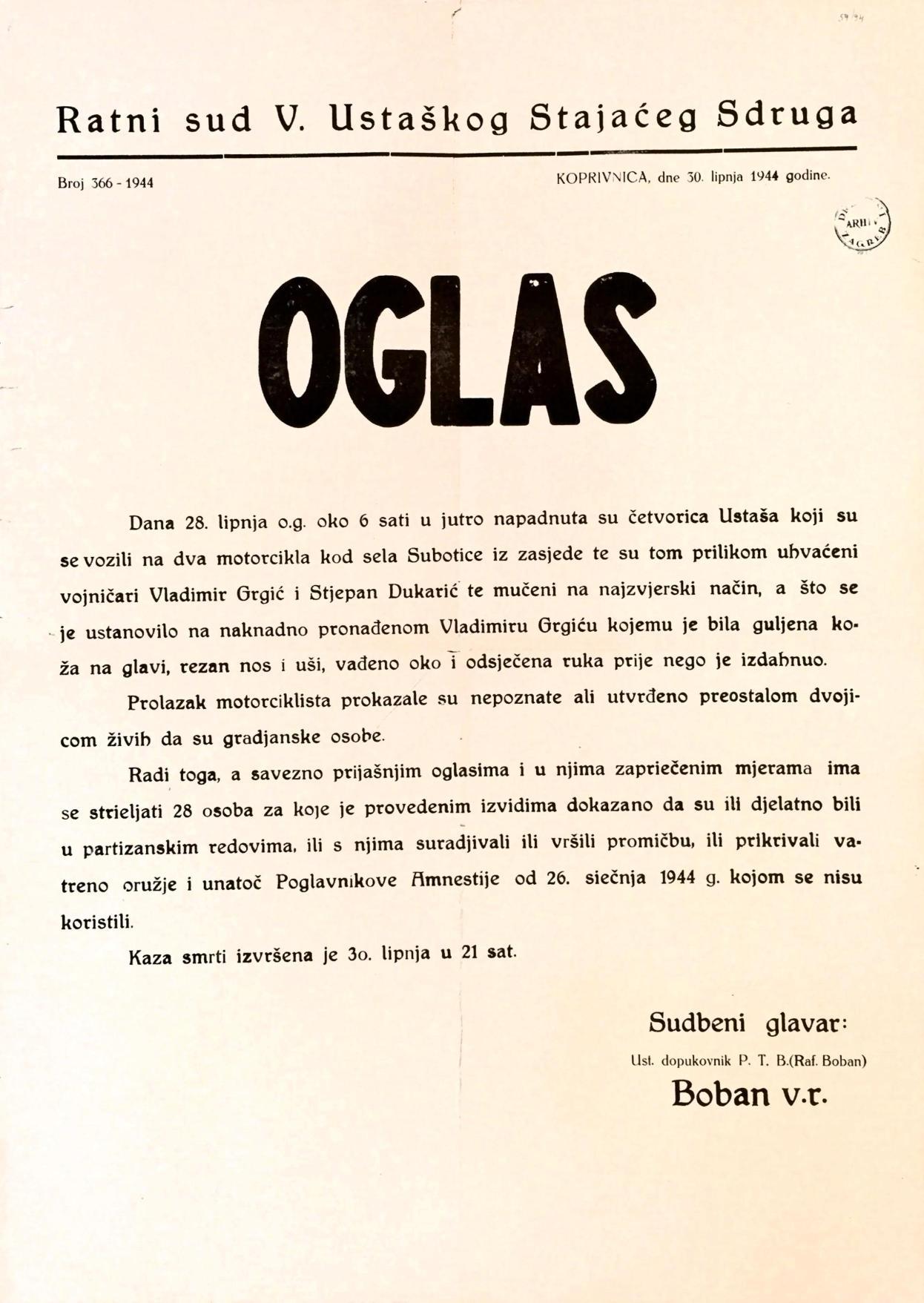 Oglas kojim se u Koprivnici najavljuje strijeljanje 28-ero ljudi iz odmazde (Izvor: HR-HDA-907- Zbirka stampata, 59/94)